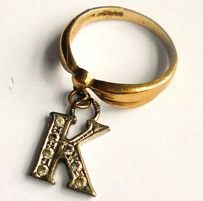 Unusual 9ct Gold Ring With A Gem Set Letter 'K'  Uk Size H. • 54£