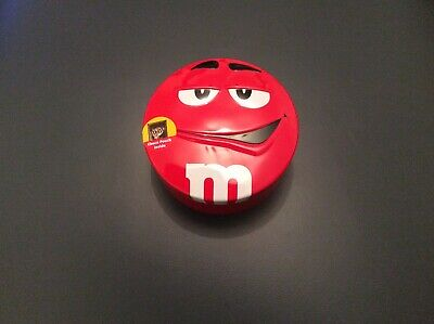 EMPTY M & M's Sweet Tin Red Metallic • 3£
