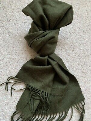 £135 • Buy Burberry Cashmere Olive Green Scarf