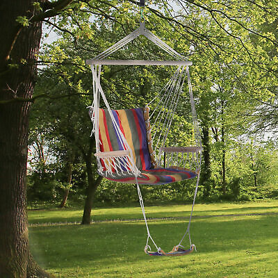 Outsunny Outdoor Hanging Rope Wooden Swing Chair Garden Tree Hammock Seat • 36.99£