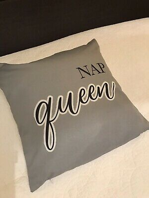 "Grey  'Nap Queen' Silky Cushion Cover 18 X18"" Plain Reverse. White Text. Zip • 13.99£"
