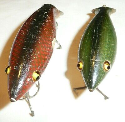 $ CDN48.32 • Buy 2 Wooden Heddon Tad Pollys Glass Eyes Red Scale & Green Scale Finishes