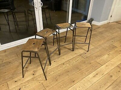 Over 50 Available Science Lab Stools Metal Stacking Vintage Mancave Pub Cafe • 25£