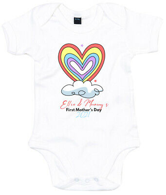 Baby Rainbow Heart First Mother's Day Babygrow Personalised Mothers Gifts For • 10.95£