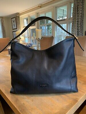 Aspinal Of London Navy Pebbled Leather Hobo Bag • 49.99£