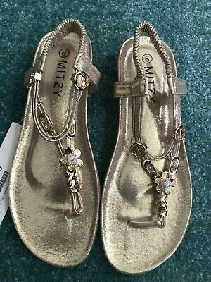 Metallic Gold Comfy Sole Jewelled Sandal Size 6 New • 7.95£