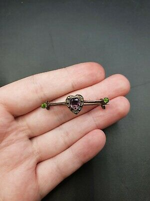 Vintage Antique Edwardian Suffragette Heart Purple & Green Bar Brooch  • 10.50£