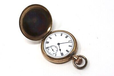 Rare Antique Edwardian Waltham Gold Plated Top Wind Full Hunter Pocket Watch111g • 1.20£