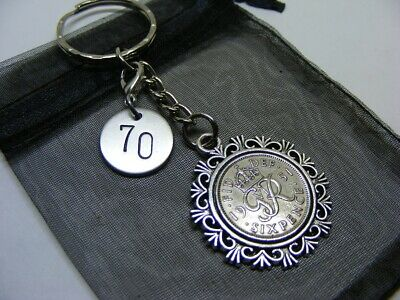£5.95 • Buy 1951 Lucky Sixpence & Number 70 Charm Keyring - 70th Birthday Gift - (SK02)