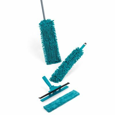 7-piece Duster Noodle Floor Mop Cleaning Set Turquoise Microfibre Head Window • 24.99£