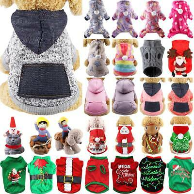Pet Cat Dog Hoodie Coat Christmas Puppy Clothes Warm Thick Apparel Jumper Outfit • 7.89£