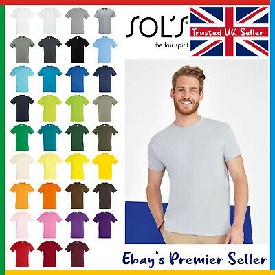 Mens Plain T-Shirt • Sol's Regent Cotton Tee • Soft Ringspun Tee • FREE DELIVERY • 3.92£