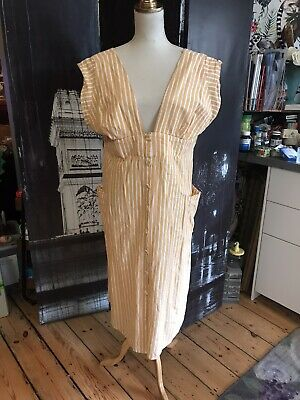 AU20 • Buy ASOS MUSTARD AND WHITE Stripe Button  Maxi Dress AU16 AS NEW COND