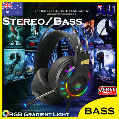 AU34.99 • Buy Gaming Headset LED Headphones MIC USB Wired For PC Laptop PS4 Xbox One Computer