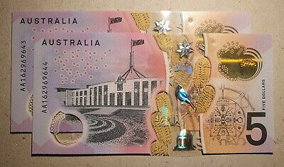 AU24.95 • Buy 2016 $5 AA ×2 Notes Consecutive Numbers First Prefix Australian Unc Note