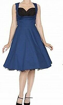 Vintage Style Swing Dress, Blue With Black Bust Line, Lindy Bop Ophelia, Size 12 • 12.50£
