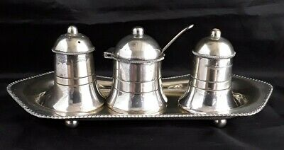 Vintage EPNS Silver Plated Cruet Set With Stand. Blue Glass Liner In Mustard Pot • 5£