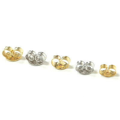 £5.85 • Buy 9ct Gold Butterfly Earring Backs Scroll Push Fit 375 Yellow White 5mm 4mm 3mm