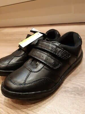 Boys Black Leather School Shoes With Memory Foam Size 2 • 9.98£