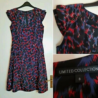 M&S Limited Collection Red Black Blue Animal Print A Line Dress Size 8 • 3.99£