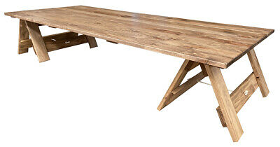 AU385 • Buy 2.4m Low Boho Rustic Wooden Trestle Picnic Table . Hand-made