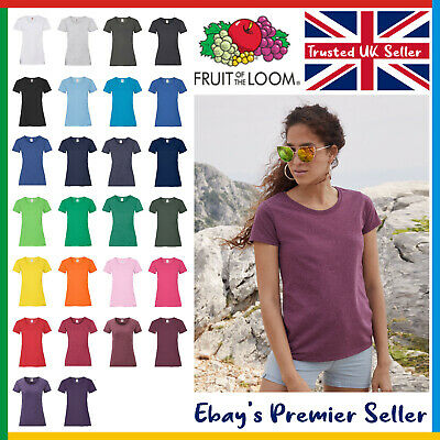 Ladies Plain T-Shirt • Fruit Of The Loom Valueweight • Womens New Blank Tee • 1.62£