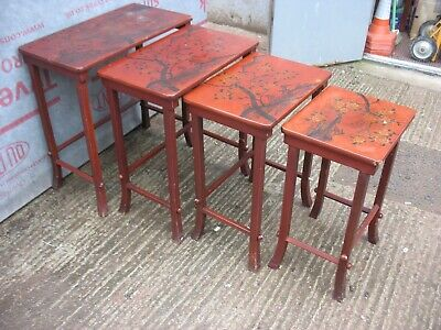 A NEST OF 4 TABLES - JAPANESE STYLE PRINTS ON EACH ONE -  + Could Help Deliver  • 35£