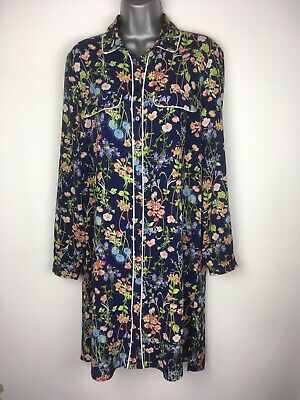 Primark Navy Floral Shirt Dress Size 12 Button Up Floaty Silky • 9.99£