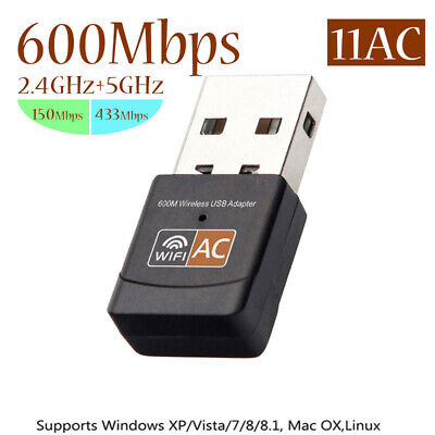 AU14.71 • Buy 5GHz 600Mbps Dual Band USB WiFi Adapter Wireless Receiver Dongle Network Card