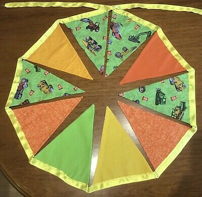 AU20 • Buy  Tractor Design Bunting Flags - Handmade, Fabric, Double Sided, Green & Yellow
