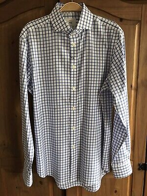 """NEW Moss Bros 1851 Tailored Fit Blue & White Check Shirt 15.5"""" / 39cm NWOT • 5.99£"""
