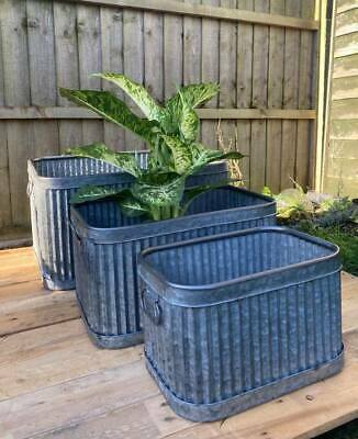 Set 3 Galvanised Dolly Tubs Bucket Planters Rectangle Rectangular Square Vintage • 94.99£