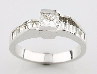 AU2696.67 • Buy 1.05 Carat Radiant And Baguette Diamond 18k White Gold Engagement Ring Size 6