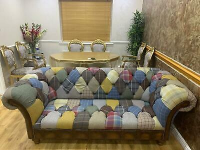 £899 • Buy Handmade 3 Seater Multi Colour Wool & Leather Patchwork Chesterfield Sofa