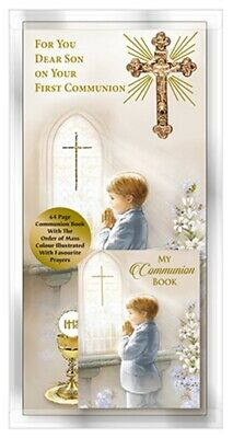 Dear Son Your First Holy Communion Card Gold Metal Cross & Communion Book FHC • 4.25£