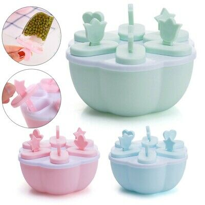 6 Grid Frozen Ice Pop Ice Cream Lolly Juice Maker Mold Popsicle Icebox Mould'UK • 4.49£