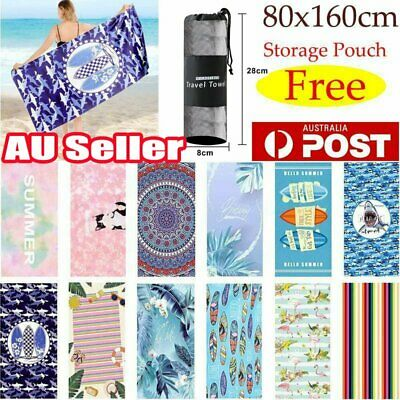 AU8.36 • Buy Free Pouch! Adults Large Soft Quick Dry Microfibre Sand-free Travel Beach Towel~