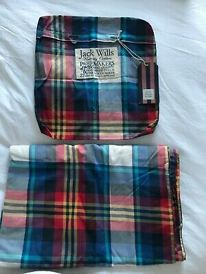 Jack Wills Pink & Blue Check Double Quilt Cover  • 25£