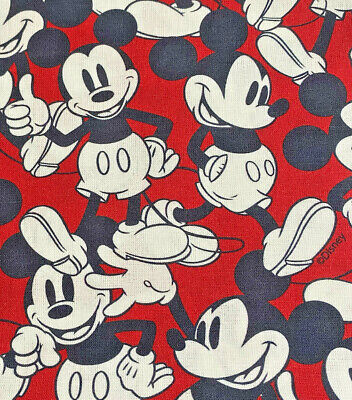 Disney Happy Mickey Mouse Quality Digitally Printed Cotton Fabric Price Per Mtr • 11£