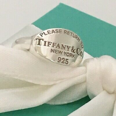 £191.95 • Buy Size 6 Please Return To Tiffany & Co Sterling Silver Heart Oval Signet Ring