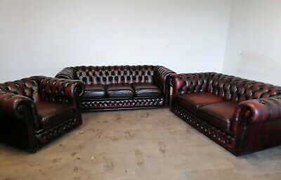 Chesterfield 3 Piece Suite In Rich Oxblood Red • 985£