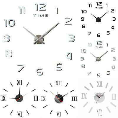 3D DIY Wall Clock Mirror Sticker Large Roman Numerals Numbers Office Decor A • 13.48£