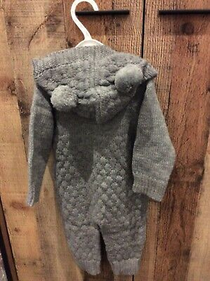 Grey Baby Suit Knitted Romper All In One 0-3 Months New • 2.50£
