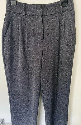 Women's Trousers Size 10 Work Casual Glitter Black Silver Small • 11.99£