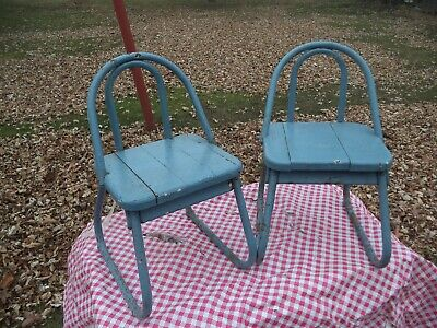 $ CDN63.52 • Buy 2 Neat Old Antique Primitive Bentwood Wood Blue Children's Chairs Furniture