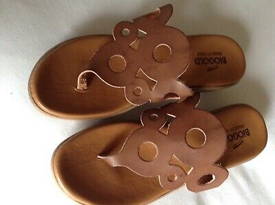 Biogold Ladies Italian Leather Cushioned Tan Thong Sandals 6 39 • 9£