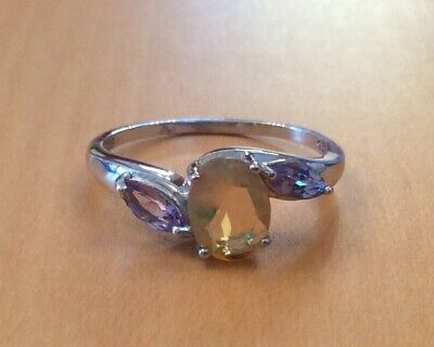 Sterling Silver Tanzanite And Opal Ring Size P • 19.99£