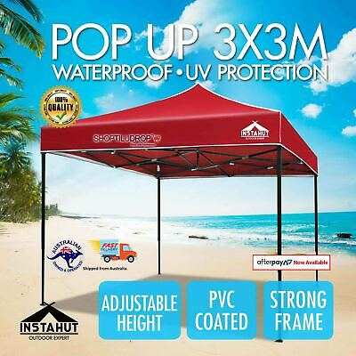 AU88.99 • Buy Instahut Gazebo Pop Up Marquee 3x3m Outdoor Tent Folding Wedding Gazebos Red