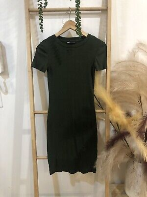 AU19.99 • Buy Zara Green Khaki T-shirt Dress Size Small 6/8/10 Great Condition