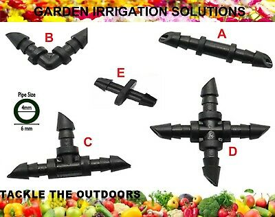 Micro Irrigation Garden Greenhouse Watering Drip Connectors Fit 4mm I.D. Pipe UK • 3.45£